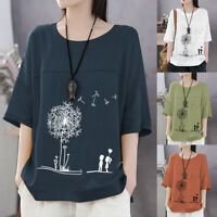 Mode Femme Ample Casual Manche 3/4 Col Rond Floral Loisir Haut T-Shirt Plus