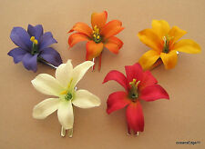 "Sm 2"" Multi Lily Silk Flower Hair Clip 5 Piece Lot, Pin Up,Updo,Bangs,Hat"