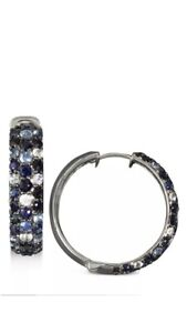 "Effy Splash Silver Blue Sapphire 1"" Hoop Earrings NWT"