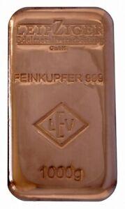 1 Kilo 1000 g LEV Kupferbarren gegossen 9999 Feinkupfer