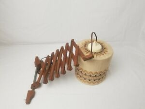 Vintage wood scissor accordion extensible wall lamp