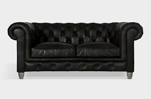 John Lewis Earle Chesterfield Med 2 Seater Leather Sofa, Riders Black RRP: £2099