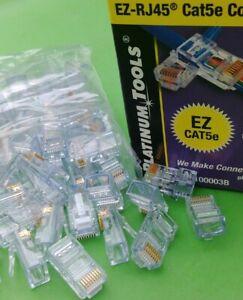 (10 PCS) Platinum Tools EZ-RJ45 Cat5e Connectors P/N 100003B (Plastic Pack)