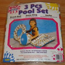 3 Pcs Child's Swimming Pool Set Beach Ball, Swim Ring, Sm. Raft New