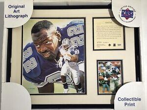 1995 Emmitt Smith Dallas Cowboys Framed Kelly Russell Lithograph Art Print #6729