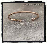 Bracelet Jonc Ouvert ZIRCONIUM Plaqué or ROSE 18 Carats, 750/1000 Bijoux Femme
