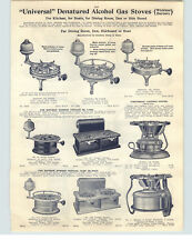 1910 PAPER AD Universal Danatured Alcohol Gas Stoves Boat Table Double Burner