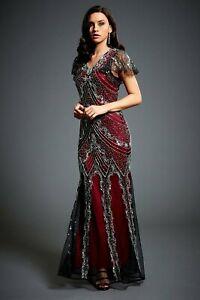 Jywal Sophia Embellished 1920s Gatsby Vintage Wedding Maxi Dress 8-18UK 4US-14US
