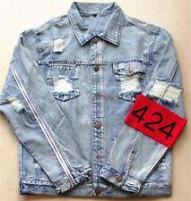 Men 424 Four Two Four Mens Broken Hole Hiphop Jean Denim Jackets Zip-Sleeve Coat