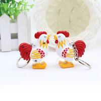 Cute Flashlight Chicken LED Keychain with Sound Keyring Mini Toy Gift Key Holder