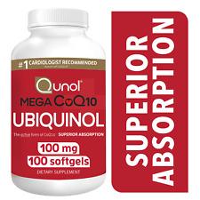 Qunol Mega Ubiquinol CoQ10 100 mg Supplement Superior Absorption 100 Softgels