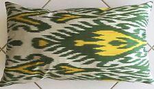 Deko Kissen Ikat Uzbeki pillow almohada Cushion silk and cotton Green Yellow