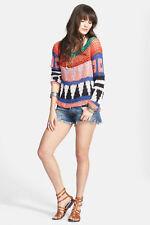NWT FREE PEOPLE Modern Art Geo Knit Sweater in Multi Combo $168 - M