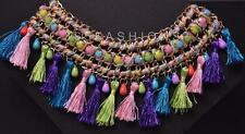 STATEMENT CHUNKY BOHEMIAN RAINBOW THREAD FRINGE TWISTED COLLAR NECKLACE MULTI