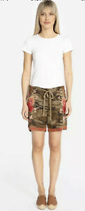 Johnny Was Burke Embroidered Linen Shorts Camo Floral Drawstring Size 1X NWT