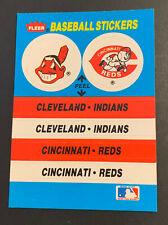 1989 Fleer Baseball Stickers Indians Chief Wahoo Logo Cincinnati Reds TX Rangers
