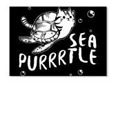 Teespring Daniel Kozik Sea Turtle Cat Animal Lover Sticker - Landscape