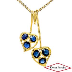 0.50ct Sapphire 18K Yellow Gold Two Heart Twist Slide Pendant NR