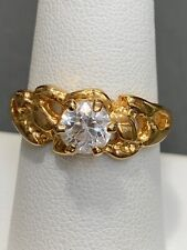 Fashion Cocktail Ring Size 73/4 Vintage Gold Plated Cubic Zirconia Clear