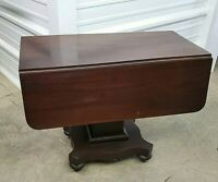 Vintage Drop Leaf Pedestal Table – With Casters & Drawer