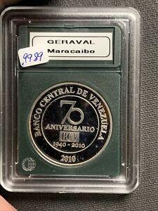 VENEZUELA 2010 50 BOLIVARS Banco Central 70th Anniv 1 Oz Silver & No Reserve!