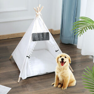 Large Pyramid Teepee Pet Dog Cat House Sleeping Bed Kennel Play Cushion Mat Tent
