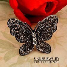 Hollow Big Black Butterfly Adjustable Rings Rhinestone Women Fashion Jewelry