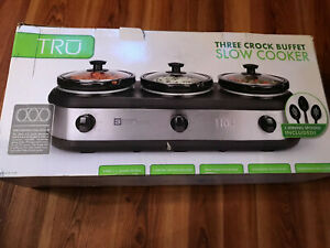 TRU 3 Crock Buffet Slow Cooker