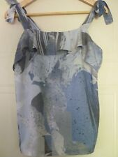NEXT Grey Blue Print Cami Camisole Tie Shoulder Frill Sun Top 10 S Eur 38