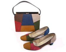 Size 7.5 Multi Patchwork Vintage shoes purse set naturalizer colorful