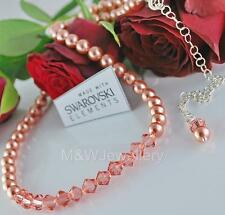 925 SILVER BRIDAL NECKLACE CRYSTALS FROM SWAROVSKI® PEARL/BICONE ROSE PEACH