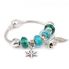 Women 925 Silver Plated Beaded Leaf Snowflake Ring Bell Charm Bracelet Jewelry