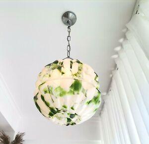 Art Deco vintage green white chrome globe Murano glass pending lamp light VTG