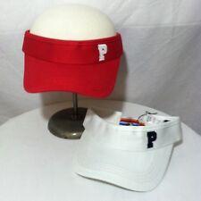 2) Peak Performance Visors Hat Cap Women's S Small Tennis Golf Red & White NWT