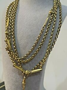 ANTIQUE VICTORIAN ROLLED GOLD GUARD/MUFF CHAIN 130 CM LONG RARE COLLECTIBLE 1880