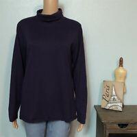 Coldwater Creek Misses LARGE 14 16 Turtleneck Sweater Dark Purple Soft Cotton