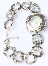 SHABLOOL ISRAEL Didae Sterling Silver 925 Pearl Bracelet Watch Open Links 925 RL