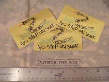 """Gadsden SPOOF """"No Step On Snek"""" (3) Decals 2 1/2 """" x 4 1/2"""" , Yellow Reflective"""