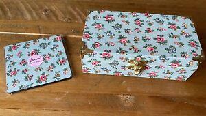 Handmade Wooden Trinket Box Cath Kidston Flowers And Matching Coaster Set New