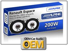 """RENAULT ESPACE Porte avant haut parleurs Alpine 13cm 5.25 """" ENCEINTE VOITURE KIT"""