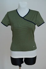 WOMENS NIKE SPORT TOP T SHIRT SHORT SLEEVED GREEN STRIPED SIZE L LARGE MINT
