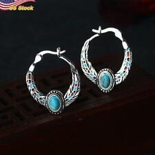Gorgeous Boho Hoop Earrings Women 925 Silver Plated Blue Jewelry 1 Pairset