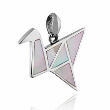 Origami Crane Pendant - 925 Sterling Silver - Mother of Pearl - Birds Gift NEW