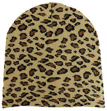 NEW KNITTED WINTER SKI SNOWBOARDING HAT CAP LEOPARD PRINT Tan BEANIE