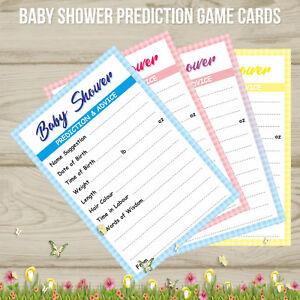 Baby Shower Prediction Game Cards Keepsakes Boy Girl Unisex