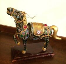 Vintage Bejeweled Cloisonne charm Enameled gold  Lucky black Horse Wooden Stand