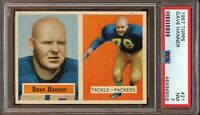 1957 Topps FB Card # 21 Dave Hanner Green Bay Packers PSA NM 7 !!!