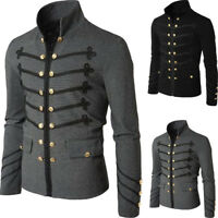 Men's Gothic Military Parade Jacket Tunic Rock Black Steampunk Army Coat