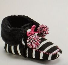 "SO Women's Knit Bootie Slippers""BLACK STRIPE""Size X-LARGE (11) NWT"