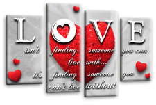 LOVE HEART CANVAS ART PICTURE GREY RED WHITE QUOTE HOME WALL PRINT 4 PANELS